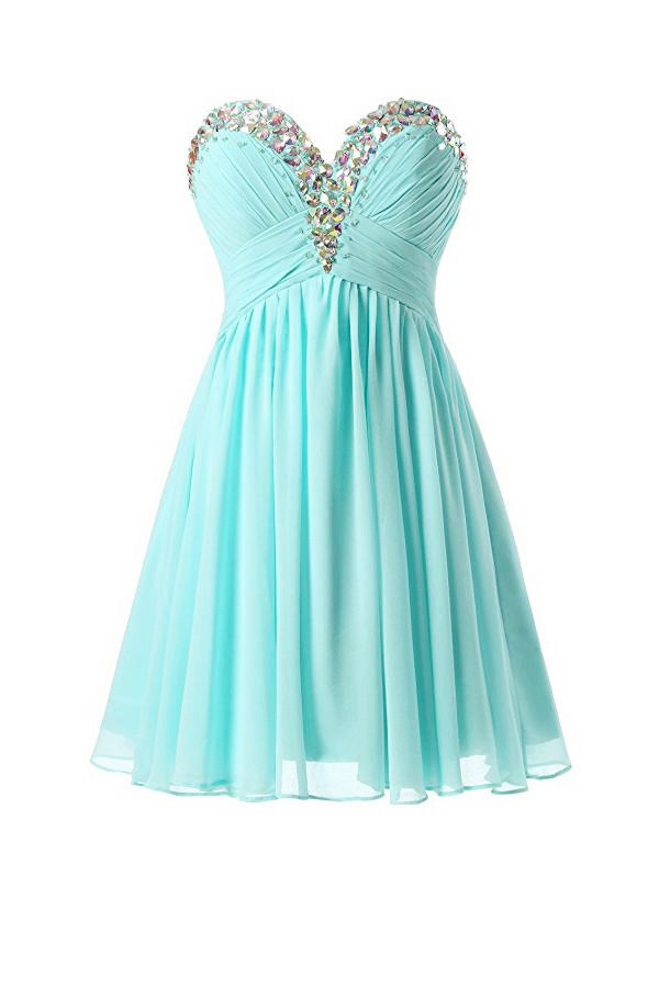 Sweetheart Beaded Mint Blue Chiffon Knee Length Prom Dresses, Short ...