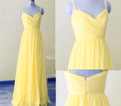 a7cfbbb2a4 Brilliant Yellow Straps Simple Cute Floor Length Prom Dresses ...