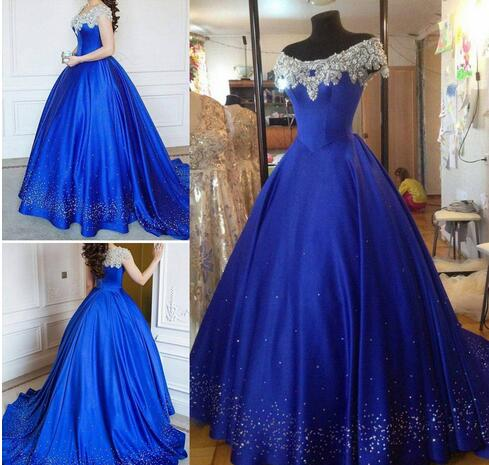 d1c0afe3e38 Cinderella Ball Gown Quinceanera Dresses Debutante Crystal Puffy 2017 Prom  Gowns Royal Blue Beads Masquerade Pageant Dress