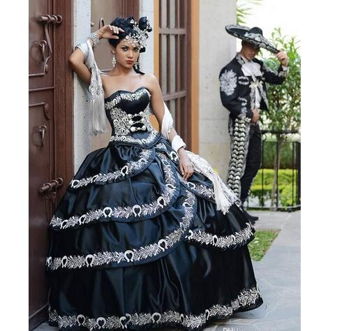 2018 Black And White Quinceanera Dresses Masquerade Party Ball Gown Cascade Ruffles Embroidery Floor Length Lace Up Custom Made