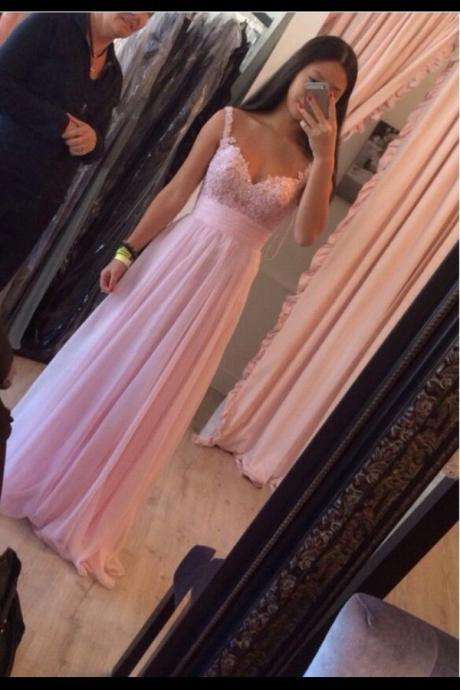 Prom Dress,Elegant Prom Dress, Handmade Prom Dress, Pink Prom Dress, Floor Length Prom Dress, Chiffon Prom Dress ,2016 Prom Dress,Applique Prom Dress,cheap Prom Dress,custom made Prom Dress