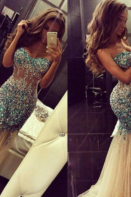 Sparkly Artificial Rhinestone Beaded Mermaid Prom Dress Champagne Tulle Long Evening Dress 2018