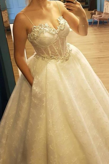 Sheer Corset Beaded Sweetheart Ball Gown Lace Wedding Dress with Pockets