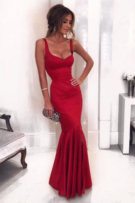 Sexy Sleeveless Mermaid Evening Dresses Long,prom dress