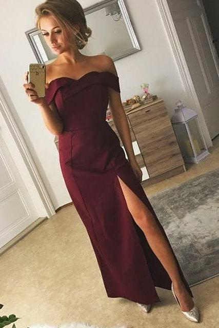 Off the Shoulder Maxi Satin Prom Dresses with Slit,prom dress