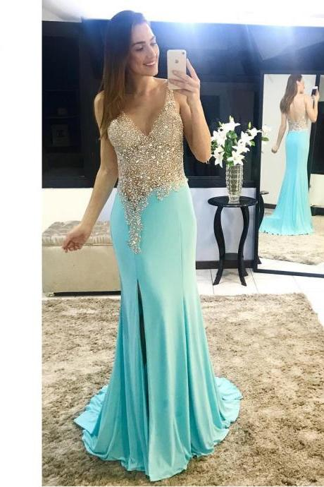 Sparkle Illusion V neck Mermaid Chiffon Prom Dresses Backless Slit Evening Party Gowns