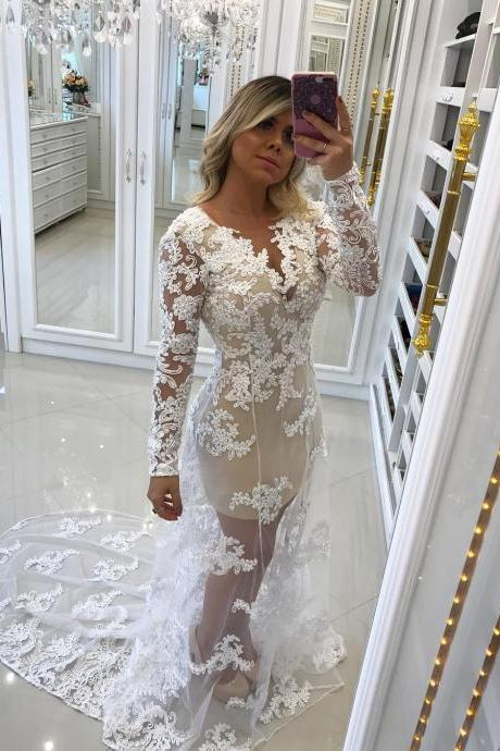 Lace Appliques Tulle Overlay Mermaid Evening Dresses Formal Gowns Long Sleeves 2018