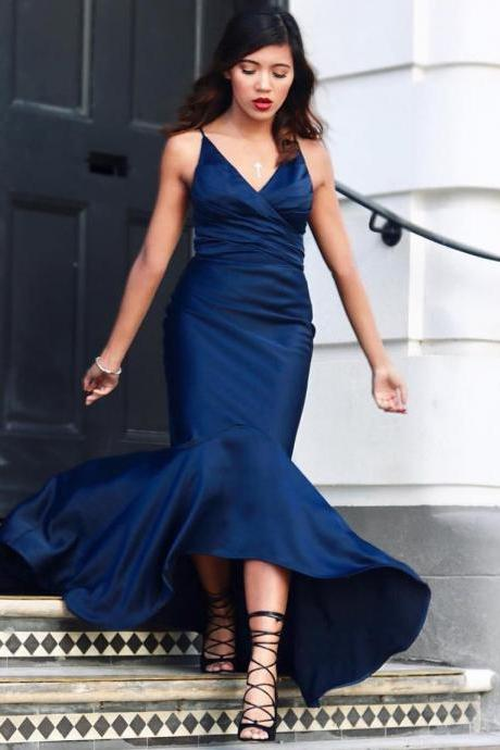 Navy Blue Satin High Low Mermaid Prom Dresses V neck Long Party Gowns