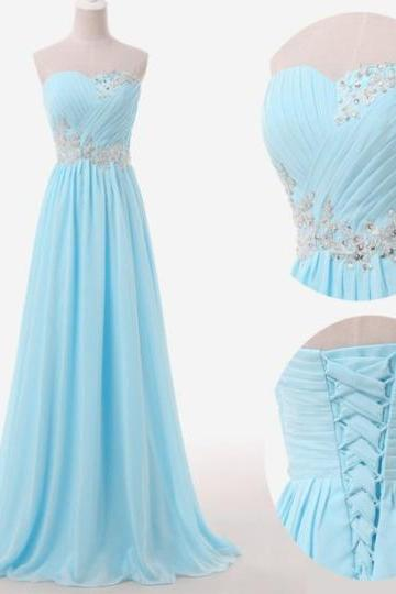 Long Light Blue Chiffon Sweetheart Ruched Evening Dress with Crystal Embellishments and Lace-Up Back - Prom Dress