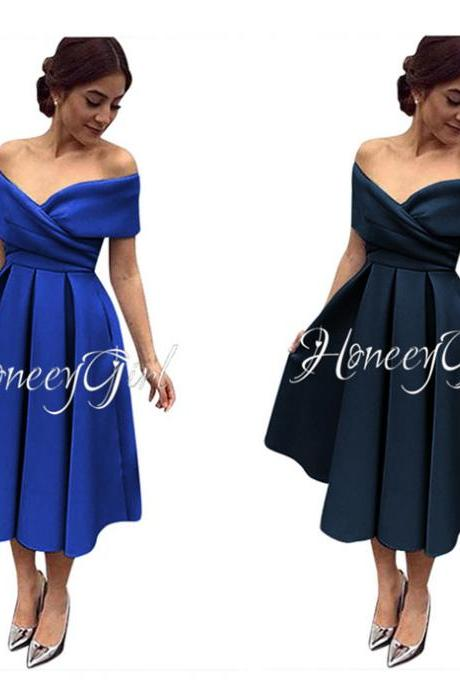 Evening Dress,Tea-Length Evening Dress,Off-the-Shoulder Evening Dresses,Elegant Party Dress for Women