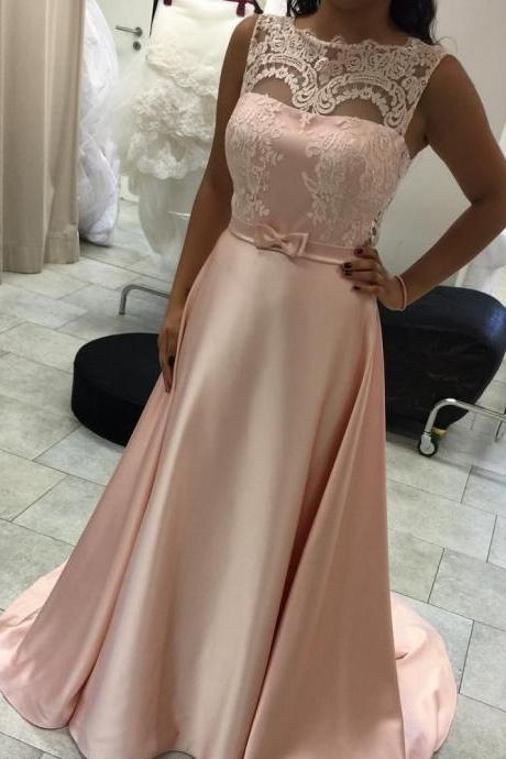 A line Rose Pink Lace Wedding Guest Dress,Lace Blush Pink Evening Dress