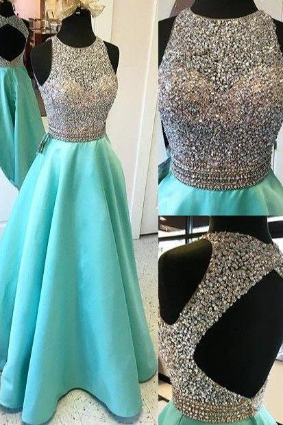 Halter Neckline Keyhole Back Prom Dress,A line Beaded Sexy Evening Dress,Hunter Graduation Dress