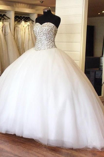 Crystal Beading Sweetheart Organza Ball Gowns 2017 Princess Bridal Dress